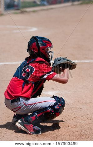American youth baseball catcher wearing protection gear and mask.