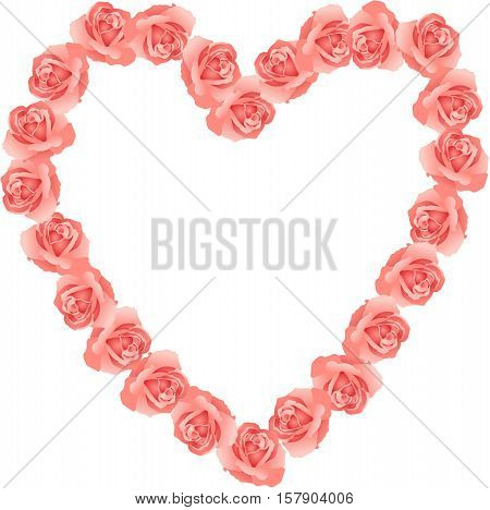 Scalable vectorial image representing a pink roses shaped heart frame, isolated on white.