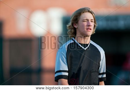 American teen ball player with copy space.