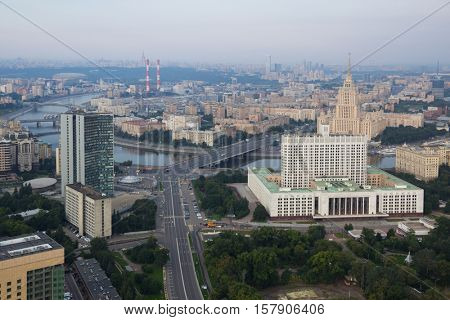 Government of Russian Federation, Novoarbatsky bridge, Ukraine hotel in morning in Moscow, Russia