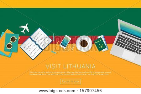 Visit Lithuania Concept For Your Web Banner Or Print Materials. Top View Of A Laptop, Sunglasses And