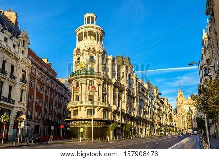 Madrid, Spain - October 8, 2016: The Edificio Grassy, a building in Gran Via street and a landmark of Madrid