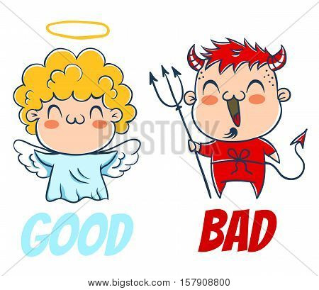 Angel and devil. Good and bad. Costumes angel and devil