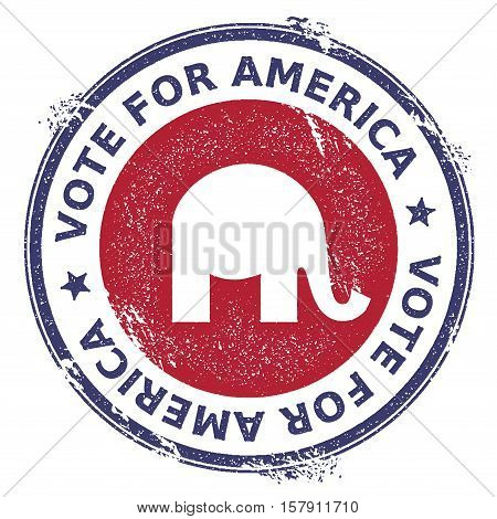 Grunge Republican Elephants Rubber Stamp. Usa Presidential Election Patriotic Seal With Republican E