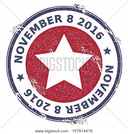 Grunge Us Patriotic Stars Rubber Stamp. Usa Presidential Election Patriotic Seal With Us Patriotic S