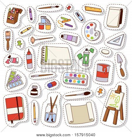 Set of art icons in flat design vector set. Patch sticker scrapbook paints artist icons brush stroke sketch. Brush pencil drawing design artist icons collection palette picture canvas.