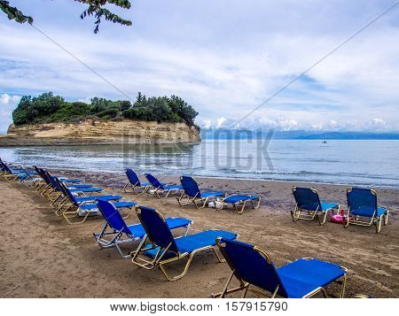 Sidari beach on north part of Corfu Greek island