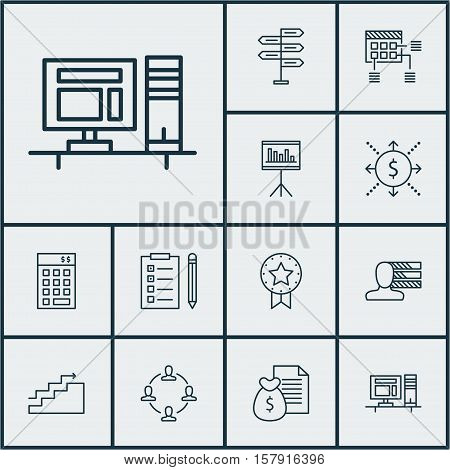 Set Of Project Management Icons On Personal Skills, Money And Computer Topics. Editable Vector Illus