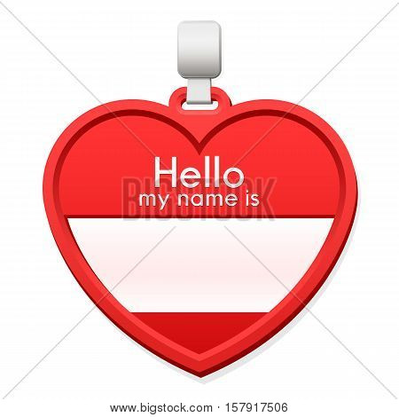 Red name tag in the shape of a heart with personalised text and blank copy space for the name on a hanger over a white background - vector illustration