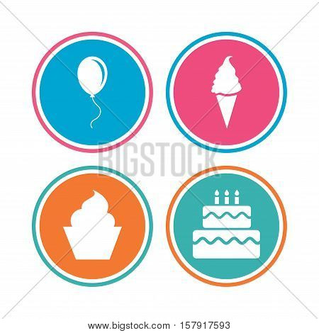 Birthday party icons. Cake with ice cream signs. Air balloon with rope symbol. Colored circle buttons. Vector