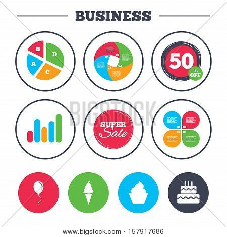 Business pie chart. Growth graph. Birthday party icons. Cake with ice cream signs. Air balloon with rope symbol. Super sale and discount buttons. Vector