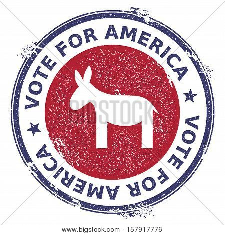 Grunge Democrat Donkeys Rubber Stamp. Usa Presidential Election Patriotic Seal With Democrat Donkeys