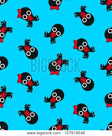 Seamless background pattern of cute baby cartoon octopi with a boy and girl octopus and pacifier in a scattered repeat motif over blue for kids suitable for print and fabric vector illustration