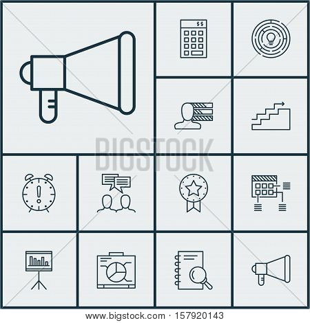 Set Of Project Management Icons On Discussion, Announcement And Innovation Topics. Editable Vector I