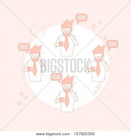 Businessman On Coffee Break Smart Phone Talk Chat Bubble Communication Vector Illustration