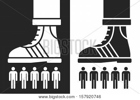 Vector of shoe scrunching a group of people in a conceptual design of dominance or crushing the competition or workforce two reverse black and white silhouette color variations