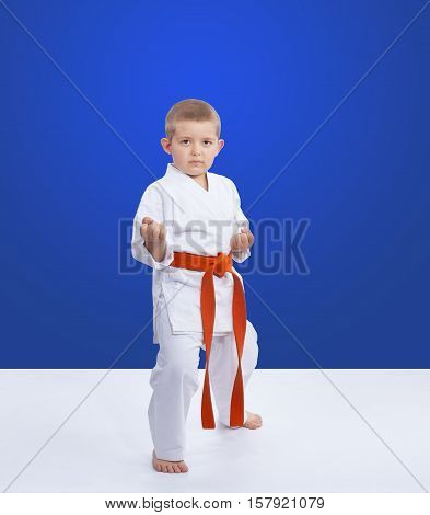 On a blue background an athlete is standing in the rack karate