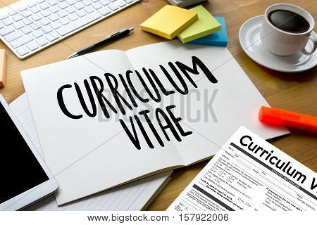 cv curriculum vitae job interview concept with business cv