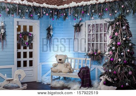Wooden House Porch Decorated For Christmas.