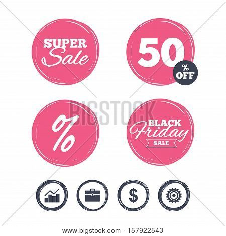 Super sale and black friday stickers. Business icons. Graph chart and case signs. Dollar currency and gear cogwheel symbols. Shopping labels. Vector