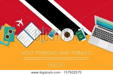 Visit Trinidad And Tobago Concept For Your Web Banner Or Print Materials. Top View Of A Laptop, Sung