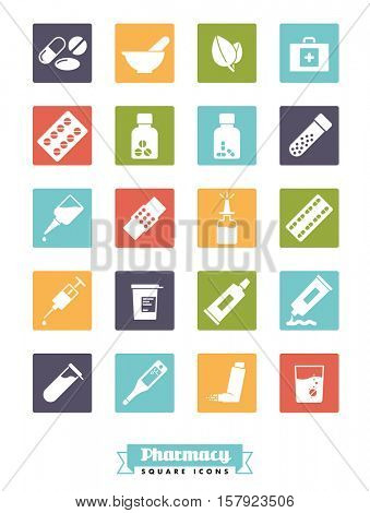 Pharmaceutics industry icon set. Collection of solid color square pharmacy and medicine glyph icons