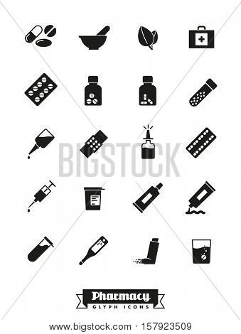Pharmaceutics industry icon set. Collection of solid black pharmacy and medicine glyph icons