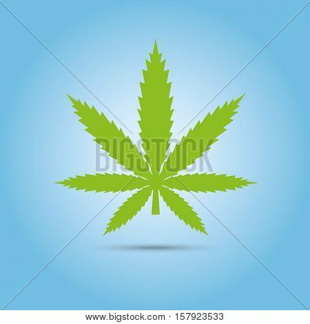 Cannabis symbol. Green marijuana leaf vector icon, blue gradient background
