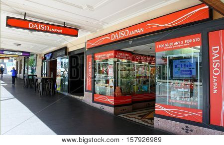AUCKLAND - NOV 20 2016: Daiso store a large franchise of 100-yen shop owned by Daiso Sangyo Corp. Daiso has 2800 stores in Japan 975 in South Korea and 700 stores overseas.