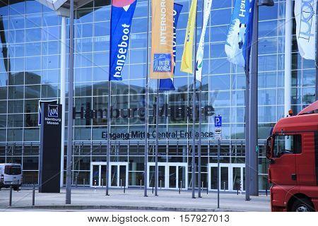 Hamburg, Germany - June 10, travel in Germany, visiting Hamburg Messe GmbH, convention center located in the St. Pauli district of Hamburg on 10 June 2016 in Hamburg, Germany