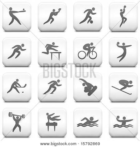 Athlete Icon on Square Black and White Button Collection Original Illustration