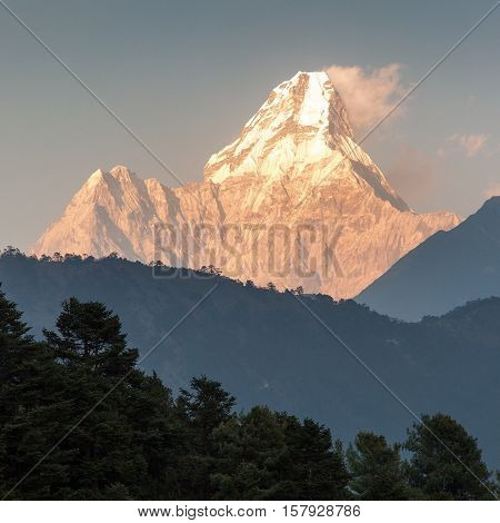 evening view of Ama Dablam one of the best mountain on the way to Everest base camp Nepal