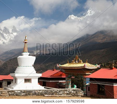 Ama Dablam Lhotse and top of Everest from Tengboche - Way to Everesr base camp - Khumbu valley - Nepal