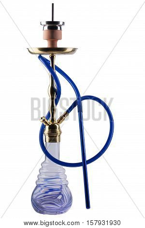 Modern blue hookah isolated on white background. Eastern smokable water pipe smoking on white background. Black hookah with black rubber tube and black flask isolated on white background.