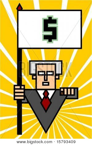Corporate executive holding a flag with the dollar sign and pointing at a viewer.