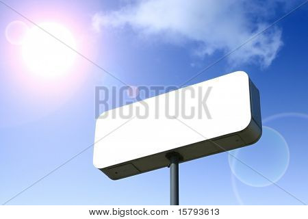 White Billboard, Blue Sky Behind.