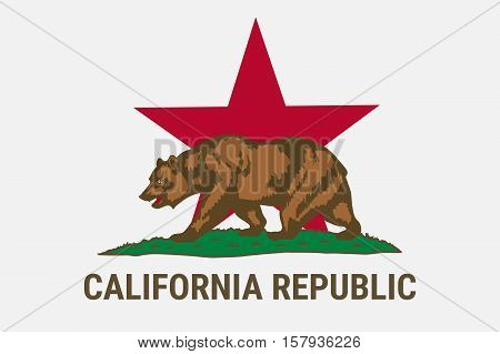 State flag of California republic with brown bear. California Independence Campaign - Calexit.