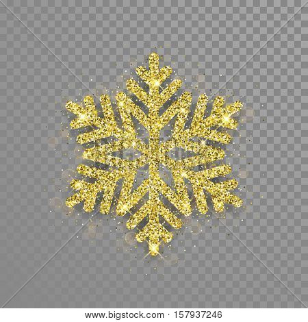 Snowflake with gold glitter texture. Christmas, New Year golden glittering ornament decoration on transparent background with shining sparkling light effect. Vector isolated icon