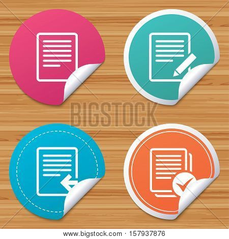 Round stickers or website banners. File document icons. Upload file symbol. Edit content with pencil sign. Select file with checkbox. Circle badges with bended corner. Vector