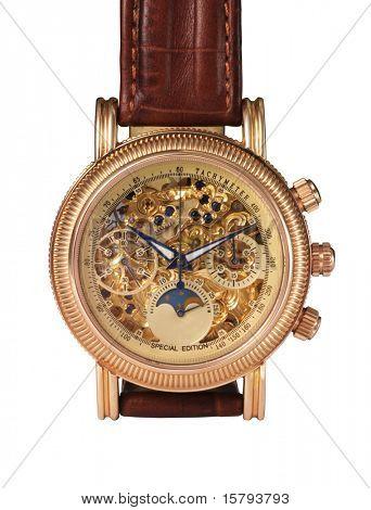 Mecanismo de reloj de oro, detalle de la macro.