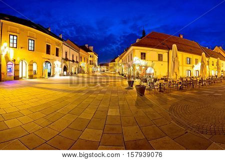 Town of Varazdin central square evening panorama baroque town in northern Croatia