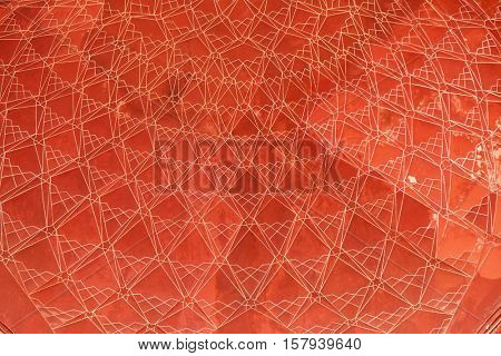 AGRA, INDIA - FEBRUARY 14: Pattern on ceiling of the Taj Mahal (Crown of Palaces), an ivory-white marble mausoleum on the south bank of the Yamuna river in Agra, India on February 14, 2016.