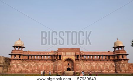 AGRA, INDIA - FEBRUARY 14: Red Agra Fort in Agra. Uttar Pradesh, UNESCO World heritage site, India on February 14, 2016.