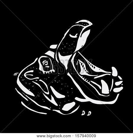 Hand-drawn pencil graphics, hippo, hippopotamus, behemoth. Engraving, stencil style. Black and white logo, sign, emblem, symbol. Stamp, seal. Simple illustration. Sketch.