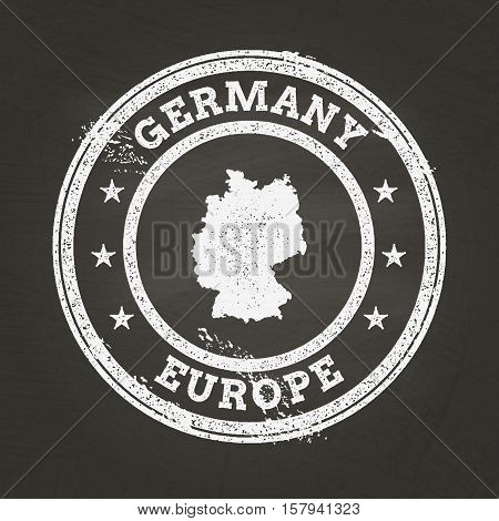 White Chalk Texture Grunge Stamp With Federal Republic Of Germany Map On A School Blackboard. Grunge