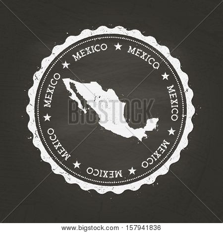White Chalk Texture Rubber Stamp With United Mexican States Map On A School Blackboard. Grunge Rubbe
