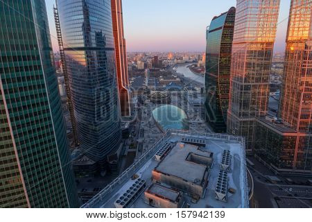MOSCOW - MAR 26, 2016: Moscow International Business Center. East tower of complex Federation in height 374 m - highest skyscraper in Europe