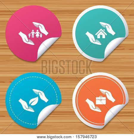 Round stickers or website banners. Hands insurance icons. Human life insurance symbols. Nature leaf protection symbol. House property insurance sign. Circle badges with bended corner. Vector