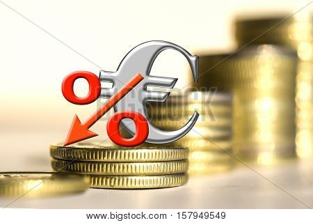 The symbol of the еuro and the percent of the background bars coins . The concept of changes in the exchange rate .