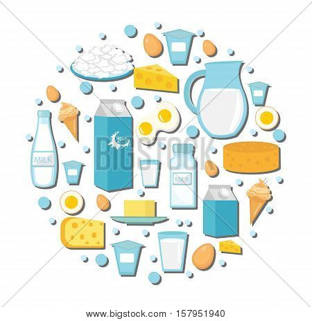 Dairy products icon set in the shape of circle. Flat style. Dairy products isolated on white background. Milk and Cheese collection. Farm foods. Vector illustration